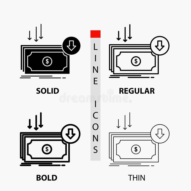 Negócio, custo, corte, despesa, finança, ícone do dinheiro na linha e no estilo finos, regulares, corajosos do Glyph Ilustra??o d ilustração royalty free