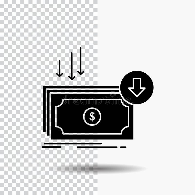 Negócio, custo, corte, despesa, finança, ícone do Glyph do dinheiro no fundo transparente ?cone preto ilustração do vetor