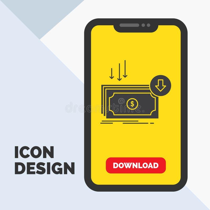 Negócio, custo, corte, despesa, finança, ícone do Glyph do dinheiro no móbil para a página da transferência Fundo amarelo ilustração stock