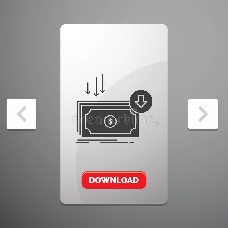 Negócio, custo, corte, despesa, finança, ícone do Glyph do dinheiro no projeto do slider das paginações do Carousal & botão verme ilustração stock