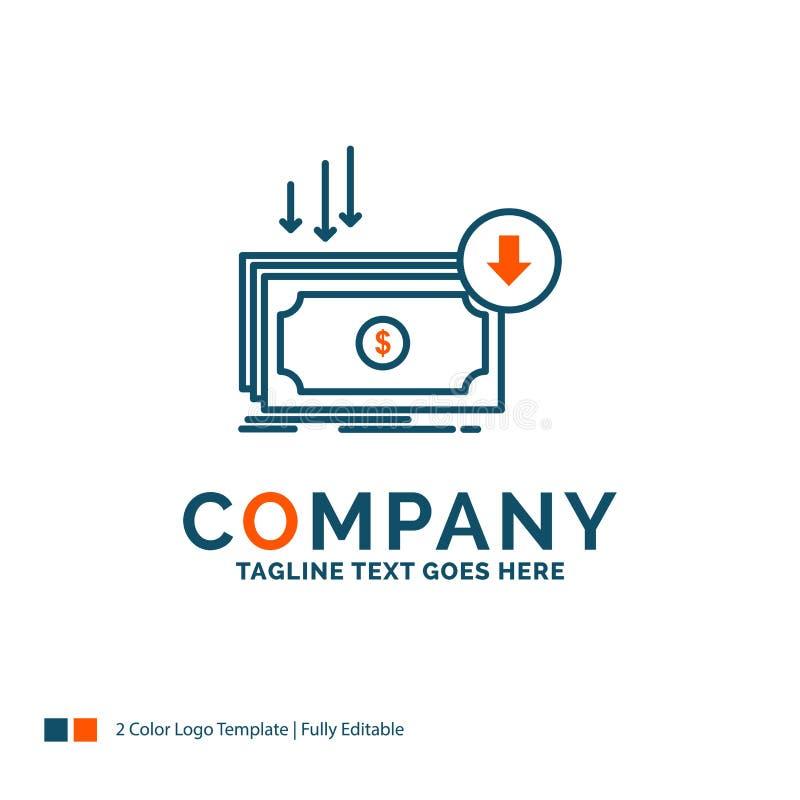 Negócio, custo, corte, despesa, finança, dinheiro Logo Design Azul a ilustração stock