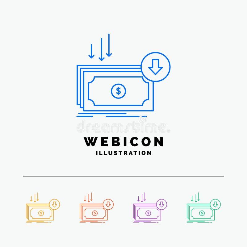 Negócio, custo, corte, despesa, finança, linha de cor molde do dinheiro 5 do ícone da Web isolado no branco Ilustra??o do vetor ilustração do vetor