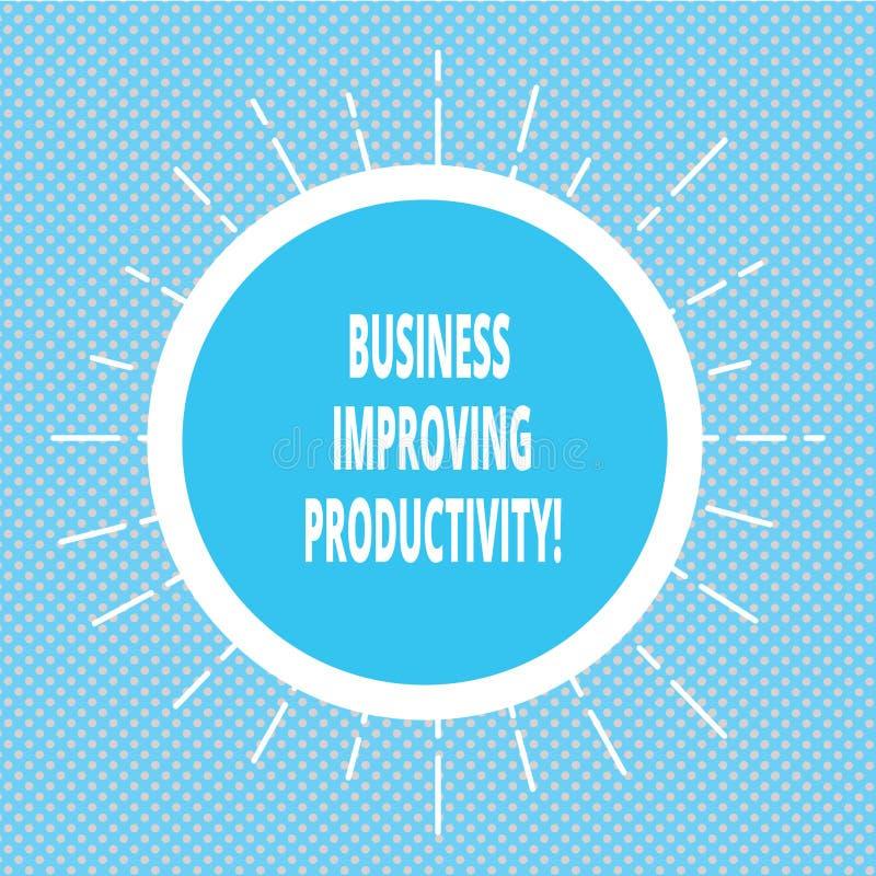Negócio da escrita do texto da escrita que melhora a produtividade Conceito que significa o aumento da eficiência em produzir ben ilustração royalty free