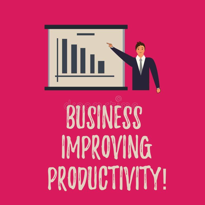 Negócio da escrita do texto da escrita que melhora a produtividade Conceito que significa o aumento da eficiência em produzir o h ilustração stock