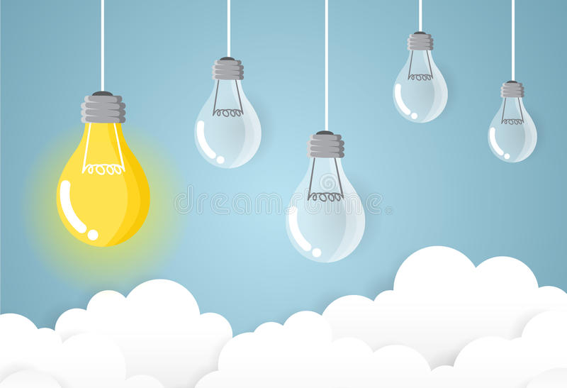 Negócio da lâmpada na ideia e no conceito modernos do sucesso do céu ilustração stock
