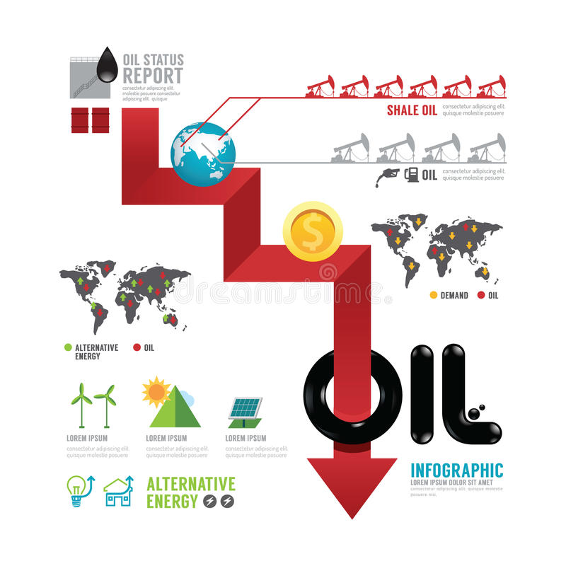 Negócio de óleo de Infographic do conceito da seta do mundo com ícones v ilustração do vetor