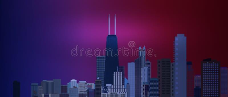 Negócio de Chicago e fundo do centro da área da finança com os arranha-céus no fundo azul e vermelho Grande vista da cidade grand ilustração royalty free