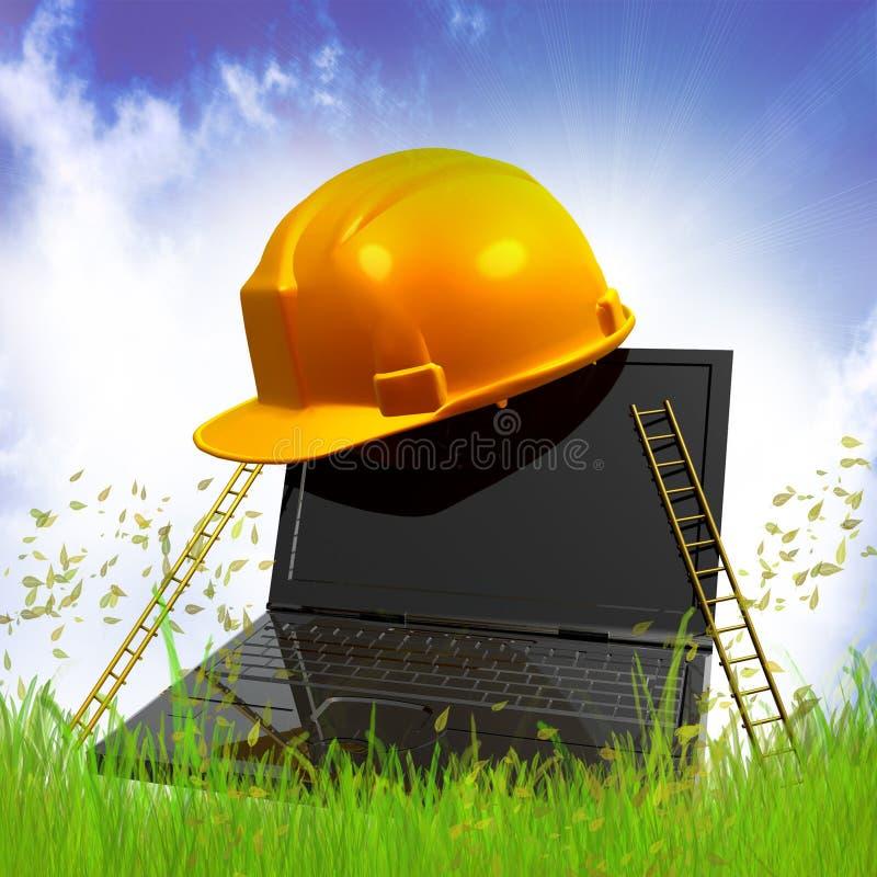 Negócio de computador com escada do sucesso ilustração stock