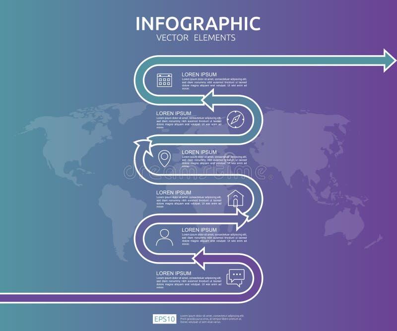 negócio de 6 etapas infographic o molde do projeto do espaço temporal com elemento da seta e o mapa do mundo fixam o conceito do  ilustração stock