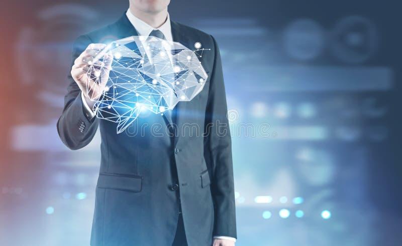 Negócio de incandescência do marcador, holograma do cérebro imagens de stock royalty free