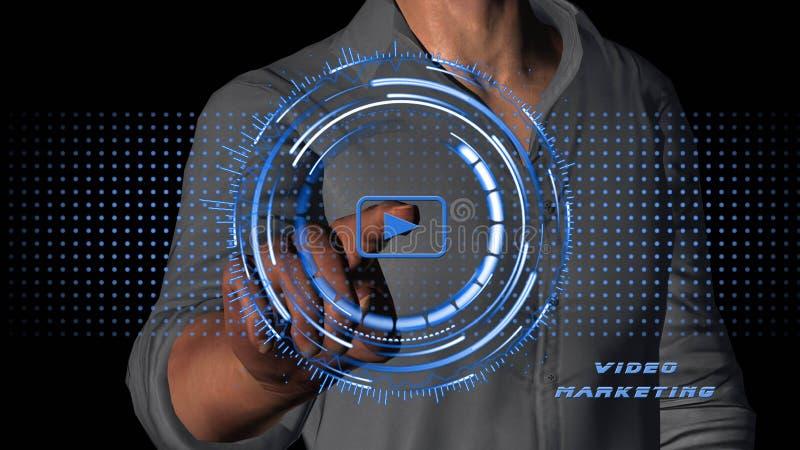 Negócio de mercado video - Internet - conceito da tecnologia - homem que pressiona a tecla 'Iniciar Cópias' no fundo preto ilustração royalty free
