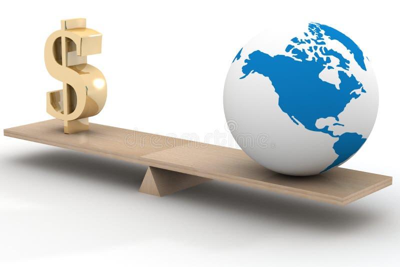 Negócio de mundo. imagem 3D. ilustração royalty free