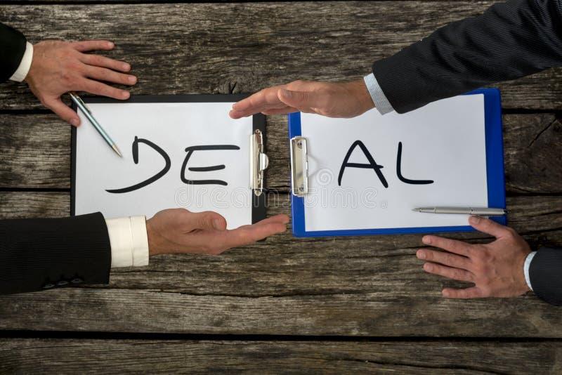 Negócio de negócio ou conceito da transação imagens de stock royalty free