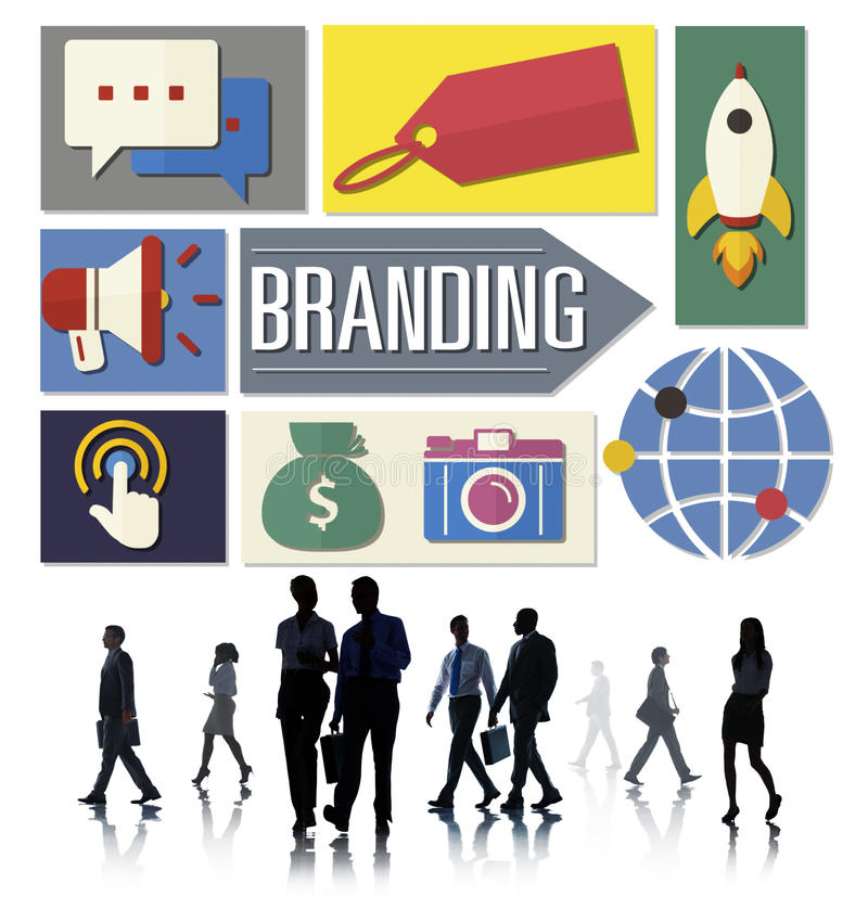 Negócio de propaganda da marcagem com ferro quente conceito global do mercado imagem de stock royalty free