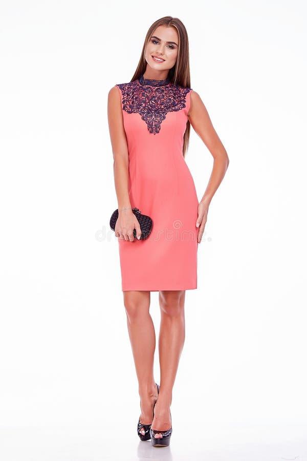 Negócio de seda à moda do olhar do estilo da forma do vestido do desgaste de mulher da beleza foto de stock