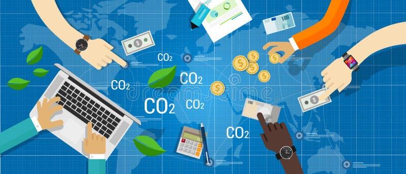 Negócio de troca do negócio do CO2 da emissão de carbono ilustração do vetor
