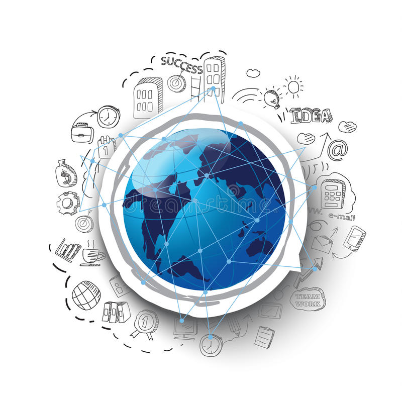 Negócio desenhado à mão, negócio global, conceito do nternet de global ilustração stock