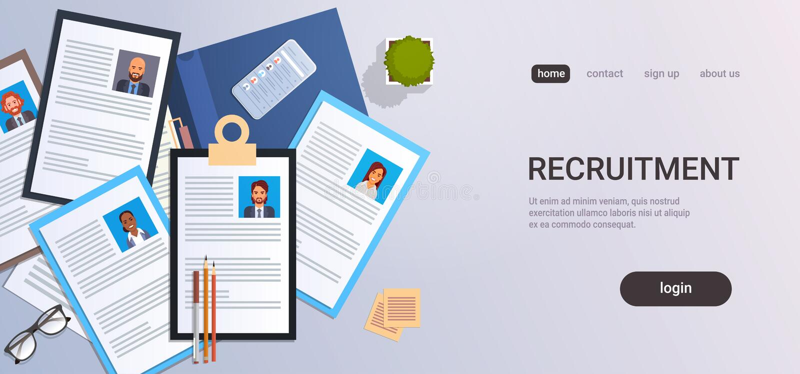 Negócio desktop do smartphone do local de trabalho da opinião de ângulo superior do perfil do cv da posição do trabalho do candid ilustração royalty free