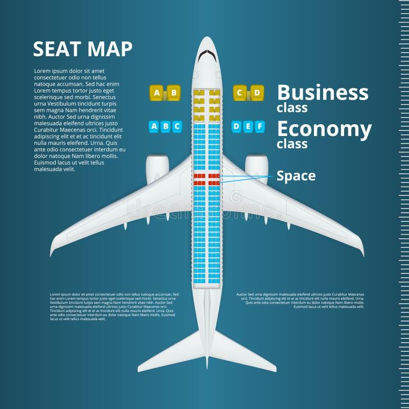 Negócio do avião ou molde do mapa de Seat da classe de economia ilustração royalty free