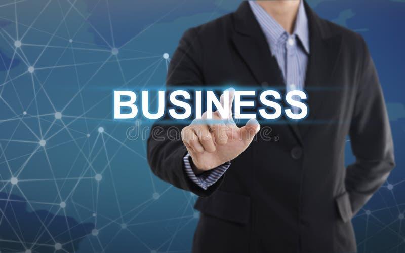 Negócio do botão da pressão de mão do homem de negócios fotografia de stock
