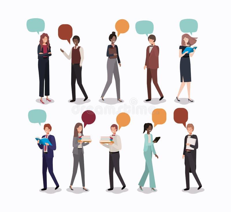 Negócio do grupo de pessoas com bolha do discurso ilustração stock