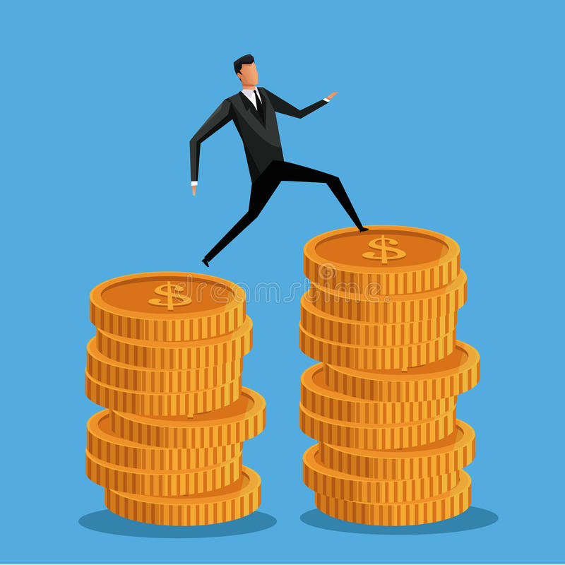 Negócio do homem na pilha do dinheiro da moeda ilustração do vetor