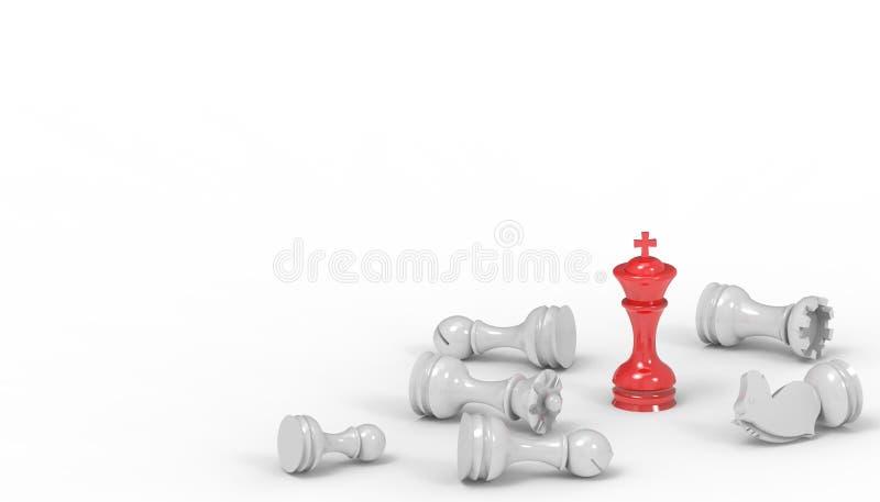 Negócio do jogo de mesa da xadrez e do conceito das ideias da estratégia futurista no isolado em um fundo branco ilustração do vetor