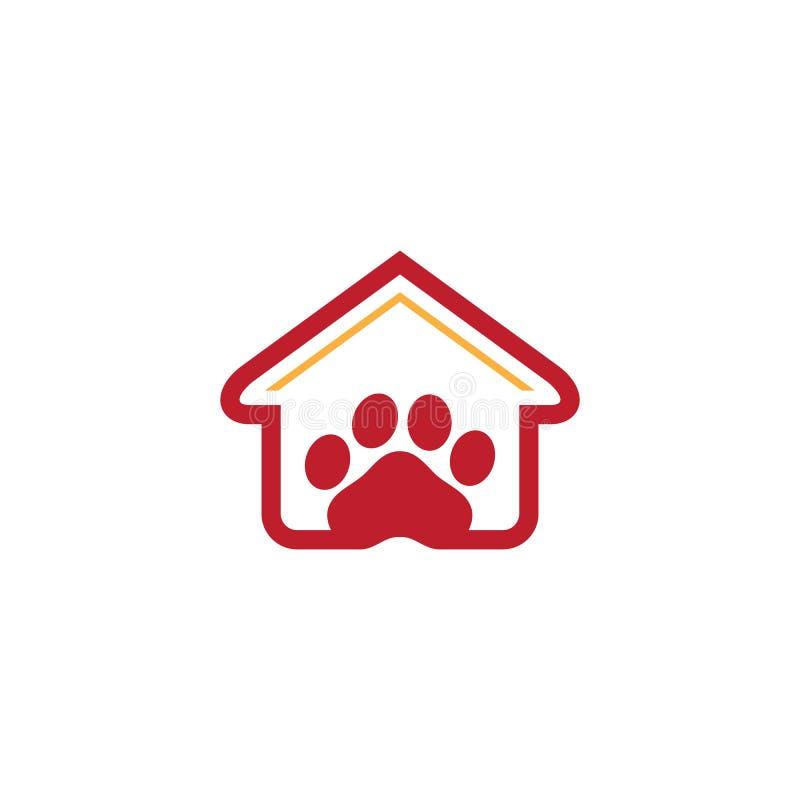 Negócio do logotipo da loja de animais de estimação da casa ilustração royalty free
