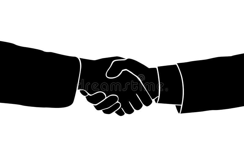 Negócio do preto do sillouette do vetor do ícone do aperto de mão ilustração stock