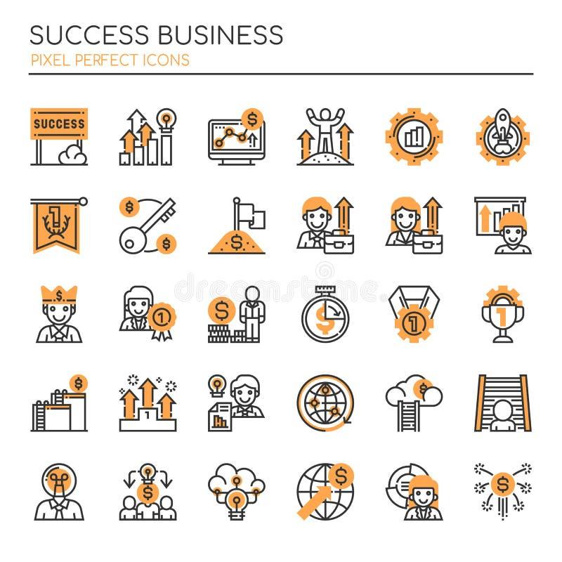 Negócio do sucesso, linha fina e ícones perfeitos do pixel ilustração do vetor
