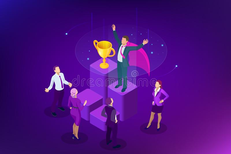 Negócio do vencedor e conceito isométricos da realização Sucesso de negócio Troféu grande para homens de negócios ilustração stock