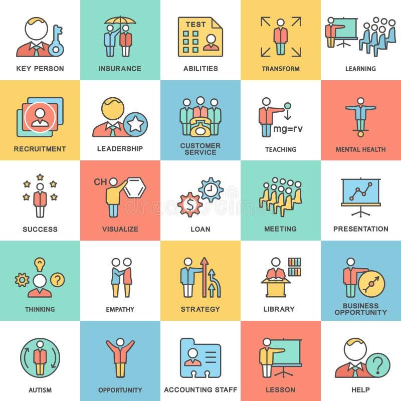 Negócio dos ícones e tipos da atividade mental da pessoa ilustração do vetor