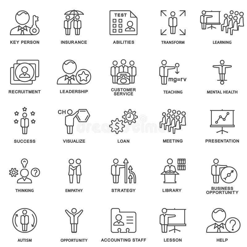 Negócio dos ícones e tipos da atividade mental da pessoa ilustração royalty free