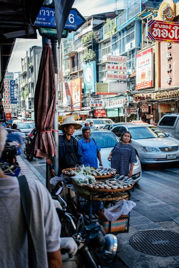Negócio dos peixes de Tailândia na cidade de China imagem de stock royalty free