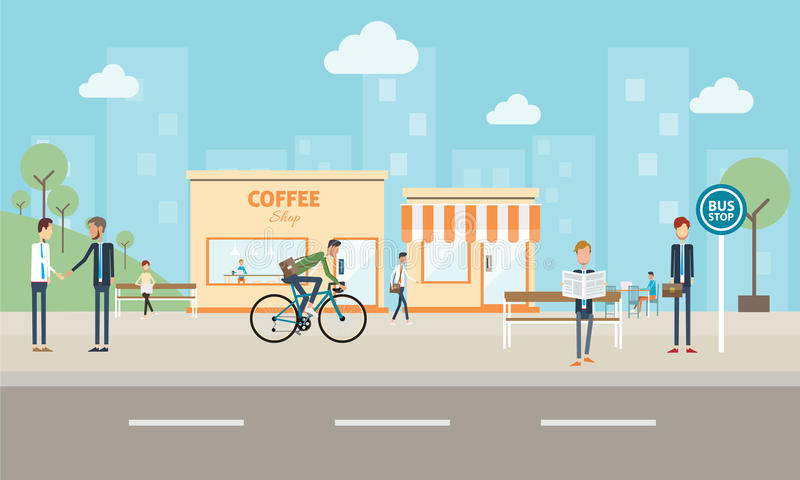 Negócio dos povos na cidade e fundo social do commucation ilustração stock