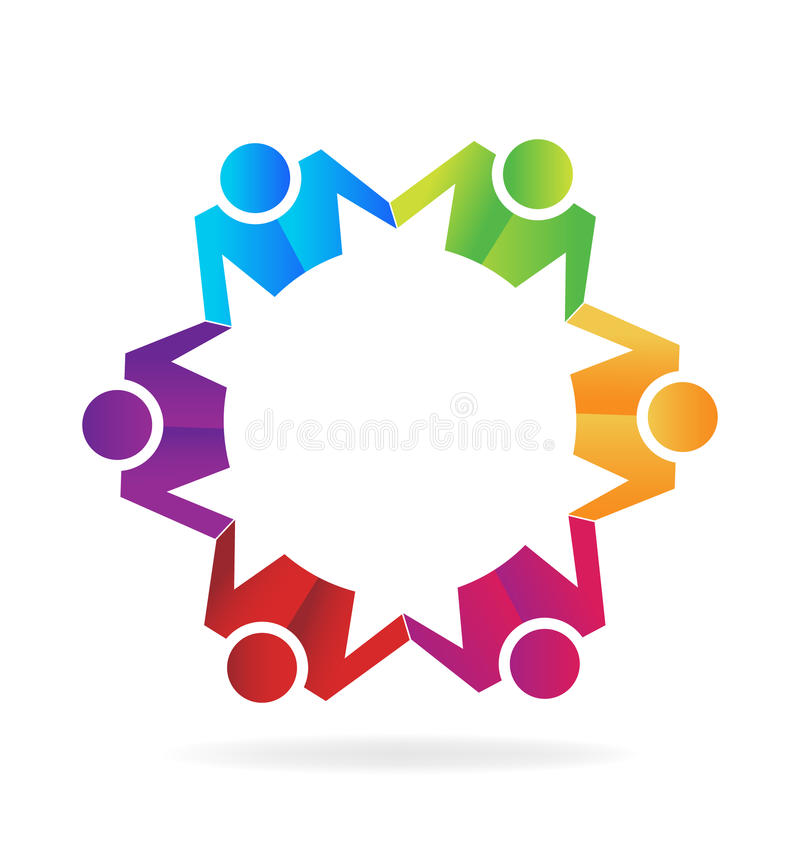 Negócio dos trabalhos de equipa que guarda o logotipo das mãos ilustração stock
