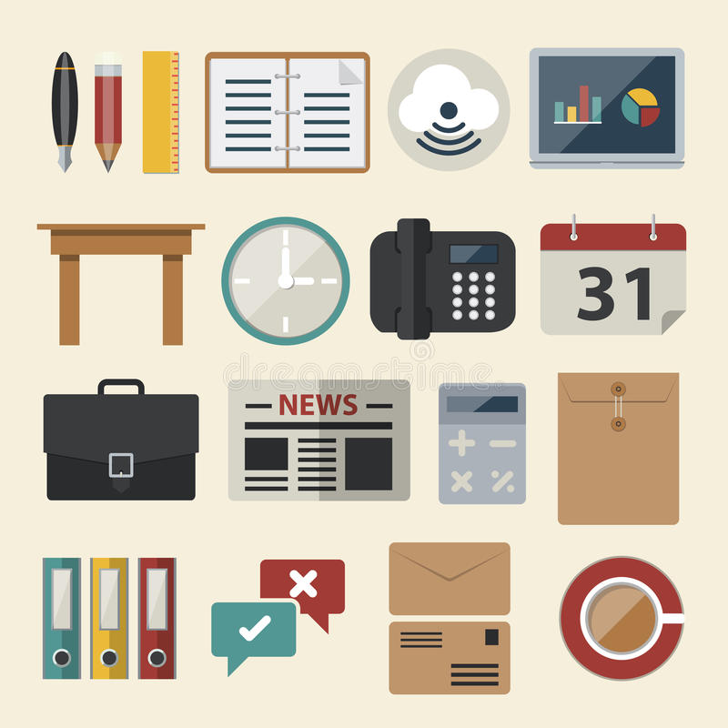 Negócio e ícone do escritório Ícones lisos do vetor ajustados ilustração stock