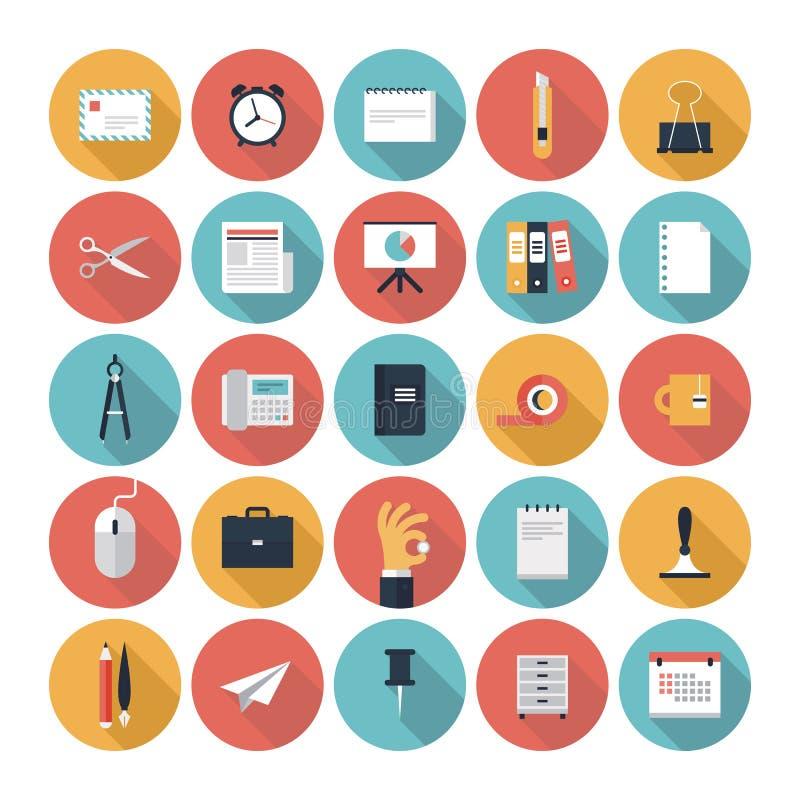 Negócio e ícones lisos do escritório ajustados ilustração royalty free