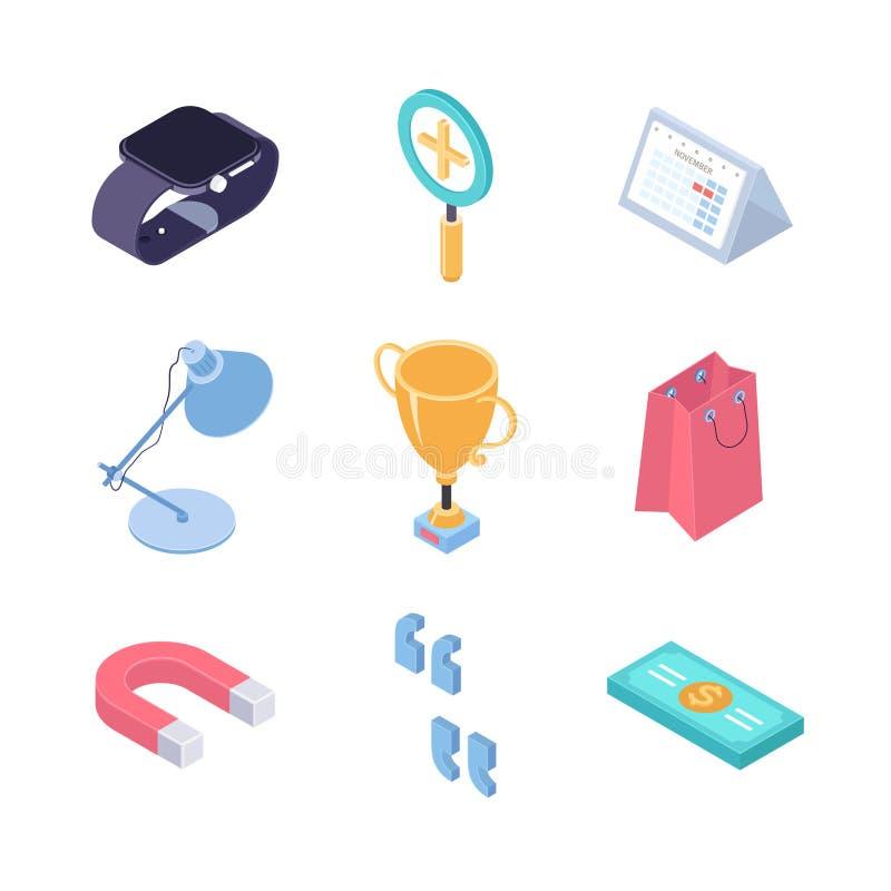 Negócio e finança - elementos isométricos coloridos do vetor moderno ilustração stock