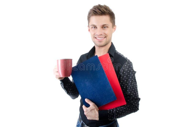 Negócio e finança Estudante feliz novo Homem de negócios atrativo novo Homem considerável novo fotos de stock