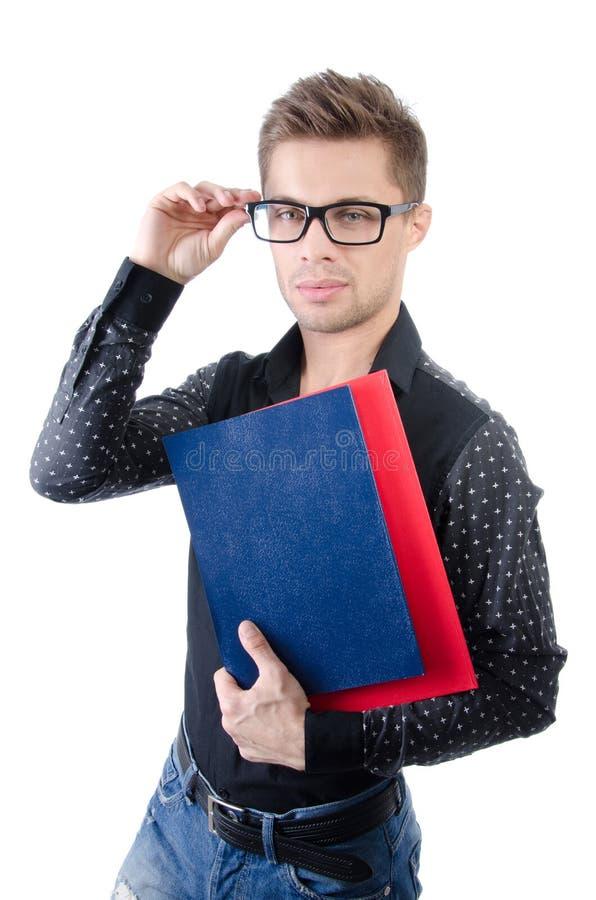 Negócio e finança Estudante feliz novo Homem de negócios atrativo novo Homem considerável novo fotografia de stock royalty free
