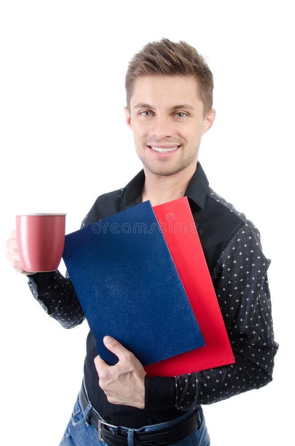 Negócio e finança Estudante feliz novo Manhã e almoço Homem novo e uma escola de negócios imagem de stock royalty free