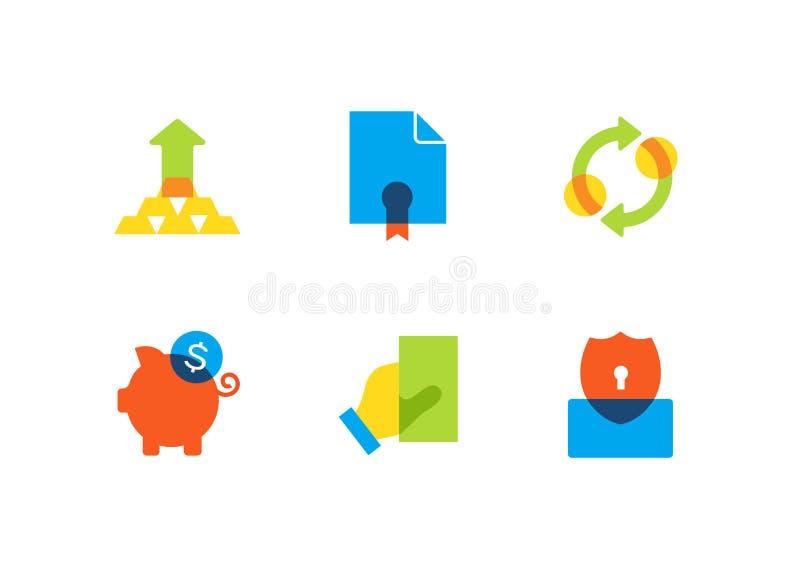 Negócio e finança - grupo liso dos ícones do estilo do projeto ilustração do vetor