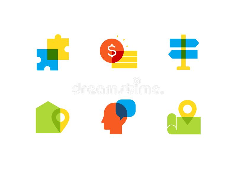 Negócio e finança - grupo liso dos ícones do estilo do projeto ilustração stock
