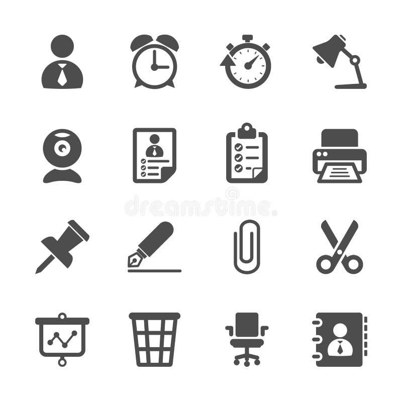 Negócio e grupo do ícone do trabalho de escritório, vetor eps10 ilustração stock