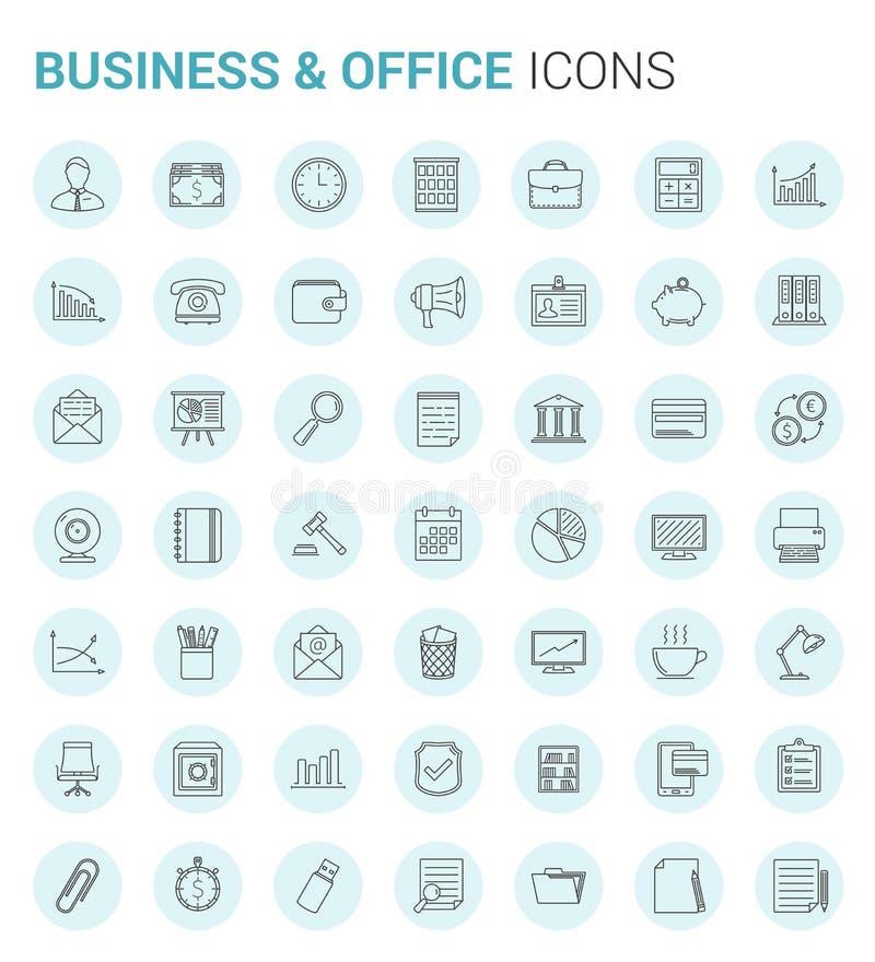 Negócio e linha ícones do escritório ilustração do vetor