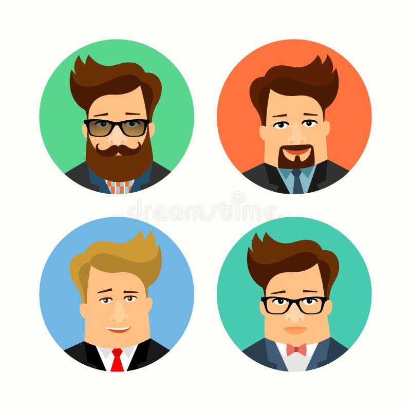 Negócio e personagens de banda desenhada consideráveis masculinos ocasionais Avatars lisos ilustração do vetor