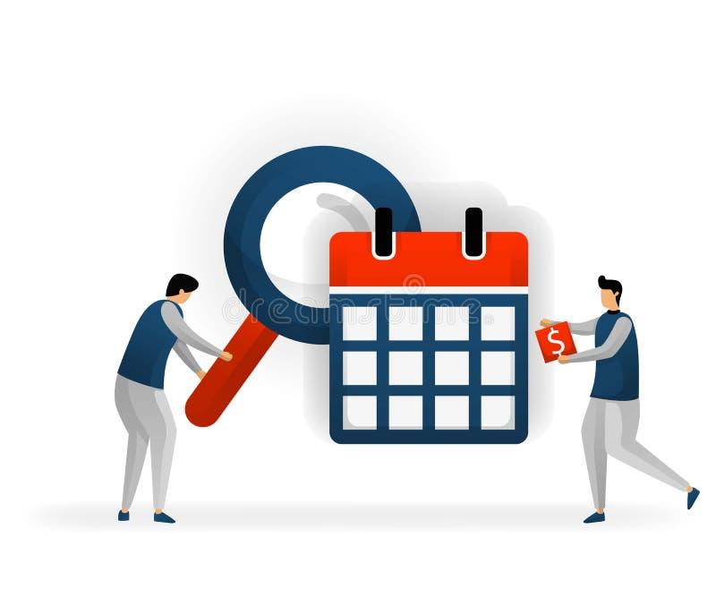 Negócio e promoção da ilustração do vetor Determine as palavras-chaves baseadas em datas do calendário e do feriado veja tranding ilustração stock