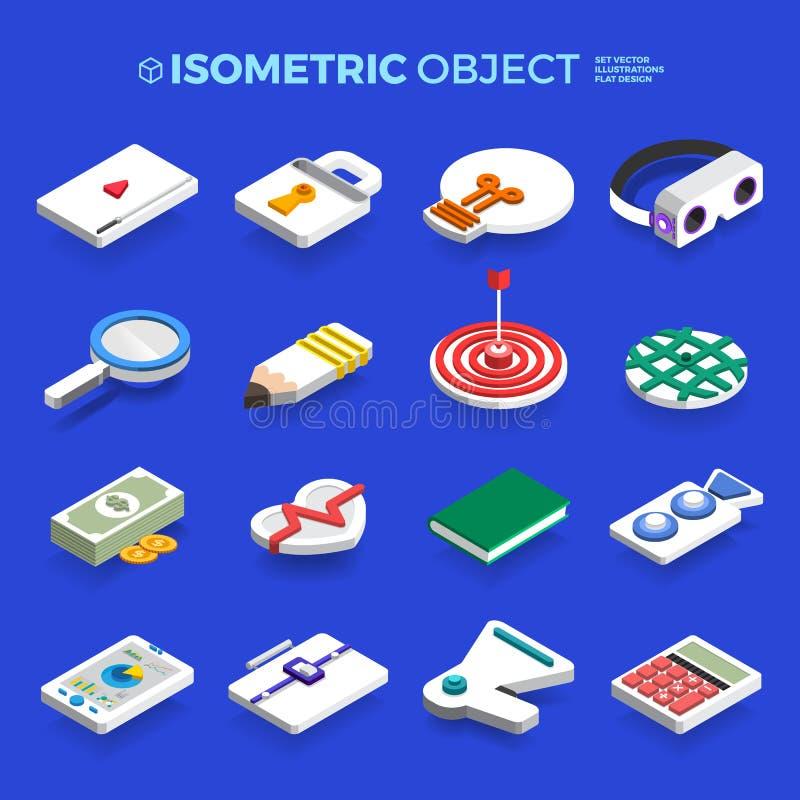 Negócio e techno isométricos do conceito do objeto 3d dos ícones ajustados do vetor ilustração do vetor