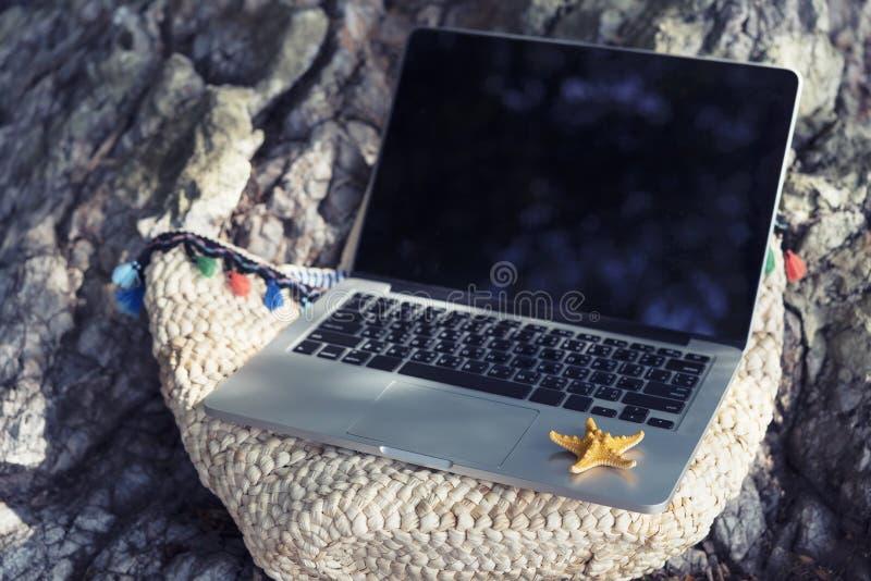 Negócio e tecnologia com natureza no conceito das férias L vazio imagem de stock